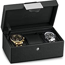 Glenor Co Travel Watch Case - 3 Slot Luxury Organizer Box, Carbon Fiber Design for Mens Jewelry Watches, Men's Storage Holder Boasts Metal Buckle & Leather Pillows, Small for Traveling - Black