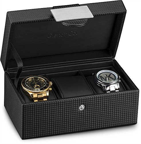 Watch Slot Winder (Glenor Co Travel Watch Case - 3 Slot Luxury Organizer Box, Carbon Fiber Design for Mens Jewelry Watches, Men's Storage Holder Boasts Metal Buckle & Leather Pillows, Small for Traveling - Black)