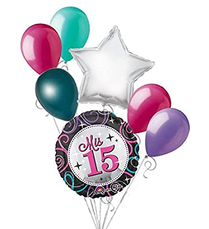 Amazon 7 Pc Mis Quince Sparkles Happy Birthday Balloon Bouquet