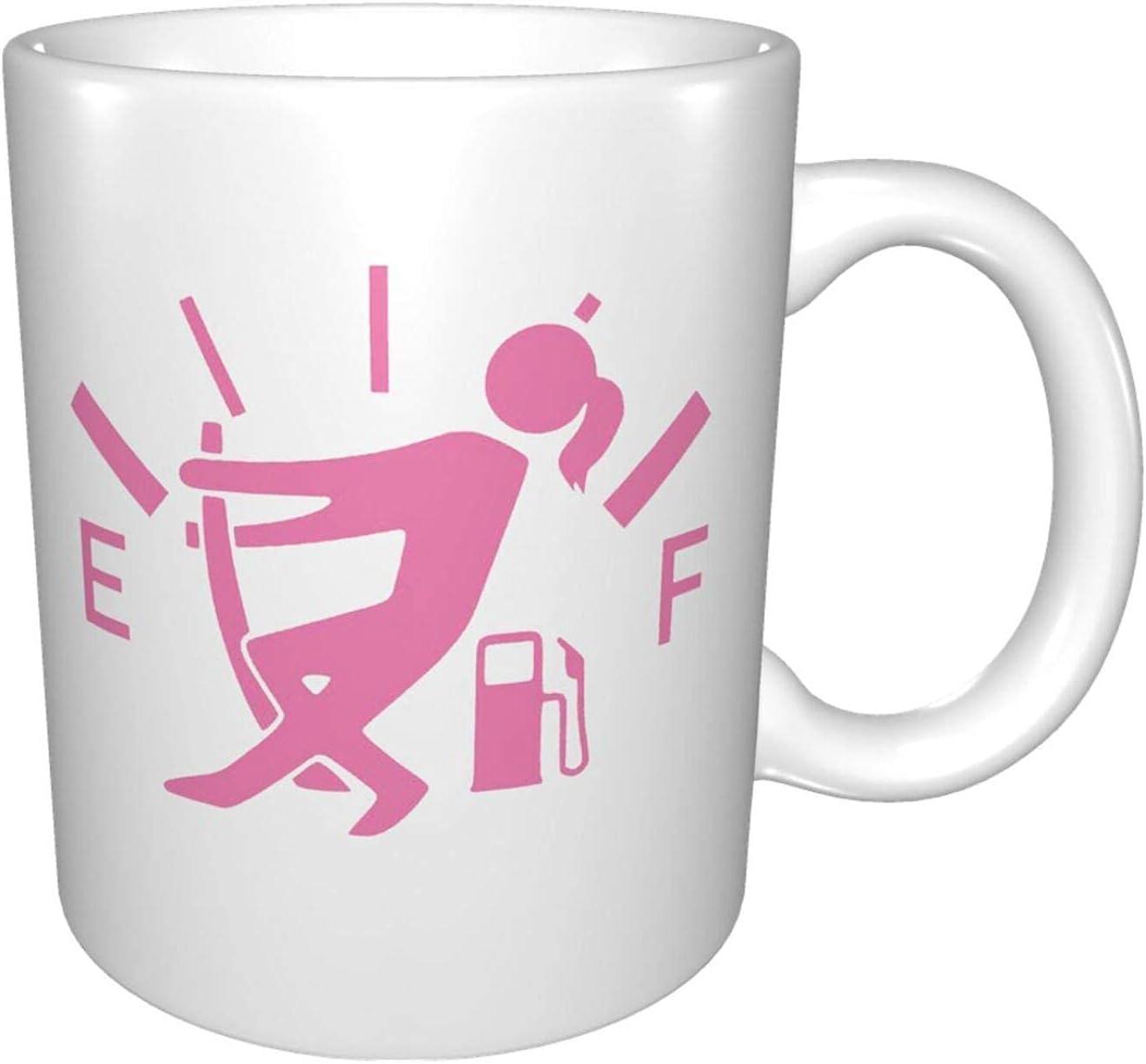 Una divertida taza de café taza de té de cerámica digna de tu favorita. Gas guage girl 11 oz de blanco para la oficina y las vacaciones familiares