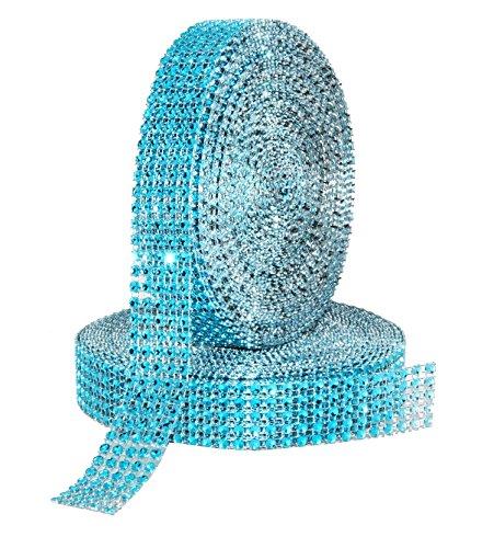 Mandala Crafts Bling Sparkling Acrylic Diamond Rhinestone Crystal Mesh Wrap Ribbon Roll for Cake Vase Centerpiece Party Wedding Decoration (1 Inch 5 Rows 20 Yards 2 Rolls, Turquoise)