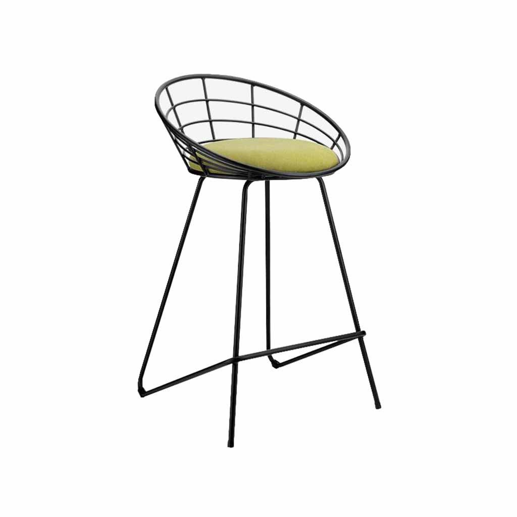 バースツールメタルカウンター朝食椅子クリエイティブホーム背の高いチェア背もたれフットレストアイアンアートモダングリーンソフトパッド入りフロントスツールブラックロード125Kg(座る高さ66cm、76cm) (サイズ さいず : 76cm) B07F8XC3DW 76cm 76cm