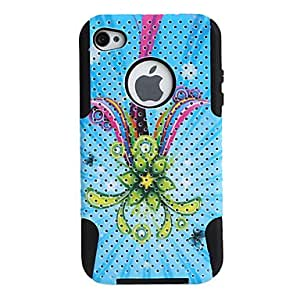 Flower Pattern Lagging Silicone and PC Case for iPhone 4 and 4S (Blue)