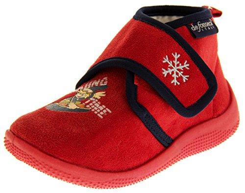De Fonseca Niños Botas Zapatilla de Fijación de Velcro Rojo