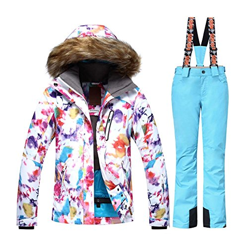 b166f4d31f HOTIAN Womens Windproof Snow Jacket Insulated Fur Hoodie Ski Jacket + Pants  Snowsuit