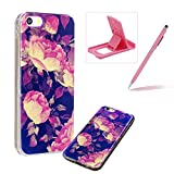 Silicone Case for iPhone 6S,Herzzer Luxury Ultra Slim Stylish Blue Light [Peony Pattern] Dual Layers Protection Soft TPU Bling Sparkle Glitter Protective Designer Case Cover for iPhone 6/6S 4.7 inch + 1 x Free Pink Cellphone Kickstand + 1 x Free Pink Stylus Pen