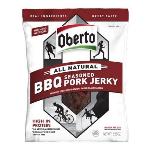 Oberto All Natural BBQ Seasoned Pork Jerky, 3.25 Ounce -- 12 per case.