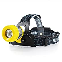 Boruit Upgraded B11 XM-L T6 LED Rechargeable Headlight with White Light£¬18650 Battery Powered Helmet Light headlamp with SOS Whistle
