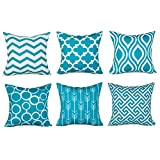 Decorative Pillow Cover - Top Finel 100% Durable Canvas Square Decorative Throw Pillows Cushion Covers Pillowcases For Sofa ,Set of 6 ,18×18 Inch-Turquoise