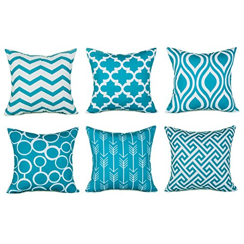 Top Finel 100% Durable Canvas Square Decorative Throw Pillows Cushion Covers Pillowcases For Sofa ,Set of 6 ,18×18 Inch-Turquoise (Turquoise Throw Pillow Covers)