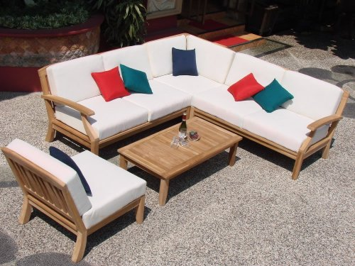 Samurai 5 Piece 6 Seat Teak Sectional Sofa Set: 2 Sofas(Left & Right), Corner Piece, Armless Chair & Coffee Table : Furniture only #WHSSSSAc Right Corner Chair