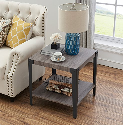 O&K Furniture Industrial Accent End Table with Storage Shelf, Metal Night Stand for Living Room and Bedroom, Gray(1-Pcs) by O&K Furniture (Image #2)