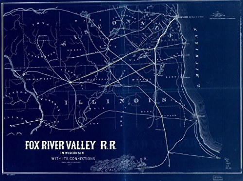 18 x 24 Blueprint Style Reproduced Old Map of: 1857Fox River Valley R.R. in Wisconsin with its connections. by Lipman & Riddle - Fox River Valley Railroad - Fox River Wisconsin