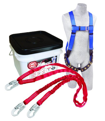 3M Protecta Compliance In A Can Light, 2199818 Roofers Kit, Full Body Harness, Twin Leg Shock Absorbing Lanyard w/Snap Hooks, White Pail