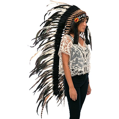 Extra Long Feather Headdress- Native American Indian Inspired- Handmade by Artisan Halloween Costume for Men Women with Real Feathers - Natural Rooster ()