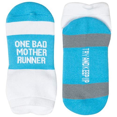 (Inspirational Athletic Running Socks | Women's Woven Low Cut | Mother Runner | Blue)