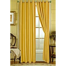 "Editex Home Curtain Faux Silk Panel with Grommets, 108"", Yellow"