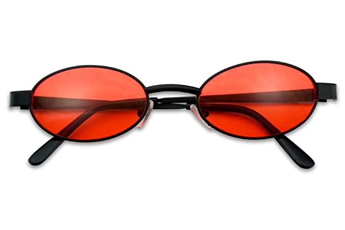 5689260479ff Small 1990's Retro Narrow Oval Color Tinted Sunglasses Slim Metal Shades  (Black Frame | Red
