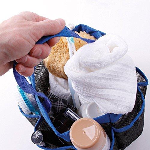NPLE--Shower Caddy Mesh 8 Pocket Portable Quick Dry Travel Tote Carry Handle Gym Dorm (Blue)