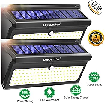 2-Pk. Luposwiten 100 LED's Motion Sensor Wireless Solar Lights