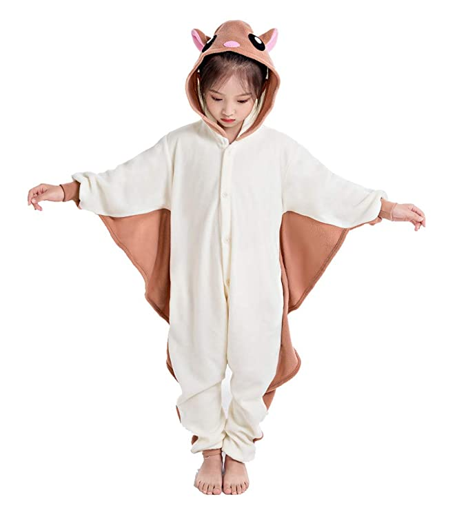 NEWCOSPLAY Unisex Children Sloth and Flying Squirrel Pyjamas Halloween Kids Onesie Costume (105, Brown Flying Squirrel)