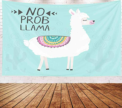 Yecationy Space Tapestry, Tapestry Psychedelic Tapestry 80x60 Inch Cute Funny Llama Alpaca Poster Template Funny No No Probllama Meaning Tapestry Wall Hanging Living Room Decoration Tapestries]()