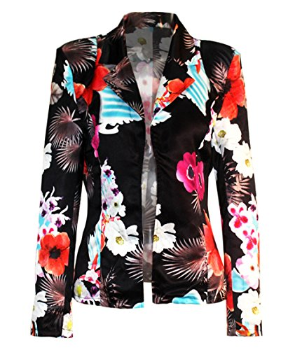 Distressed Blazer (Women Long Sleeve Floral Printed Slim Fit Party Clubwear Short Blazer Coat)