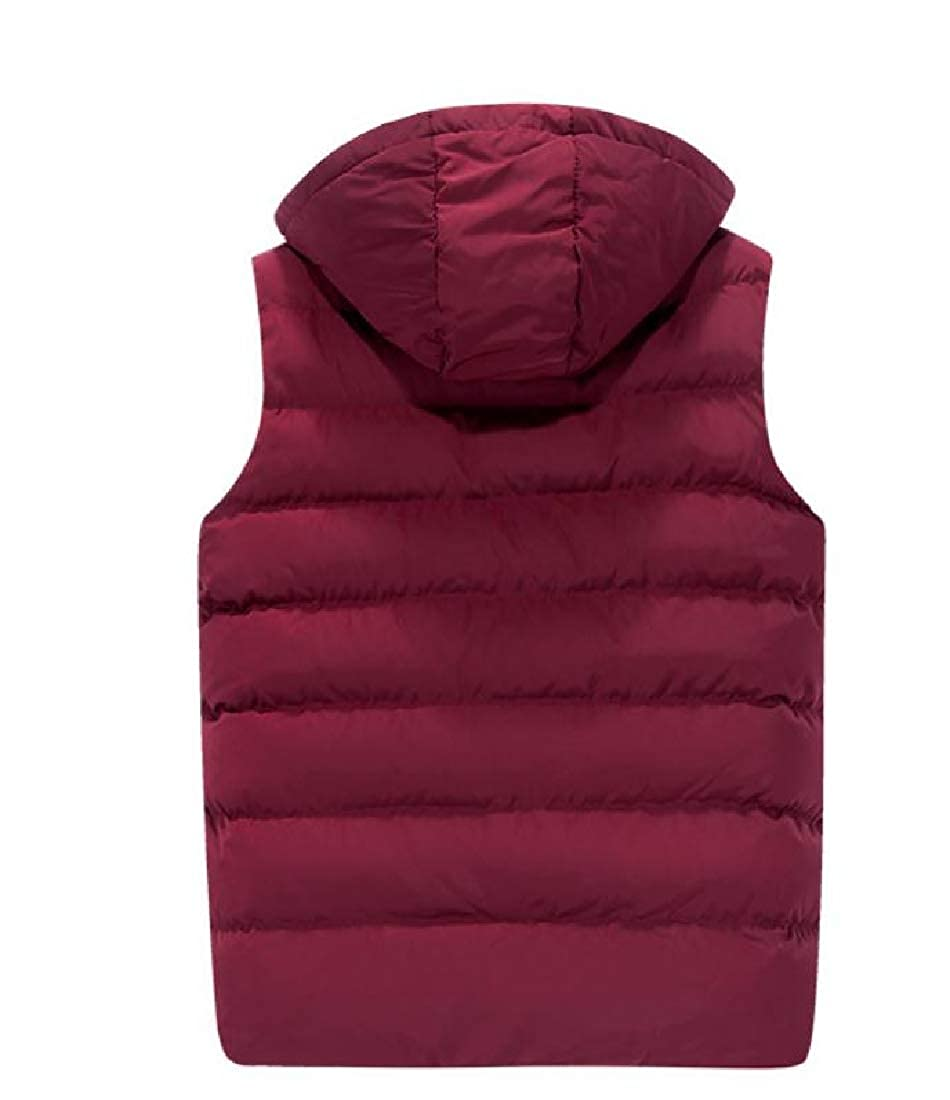 Red Abetteric Abetteric Abetteric Men Stay Warm Packable Stand Collar Quilted Vest with Hood 41361d