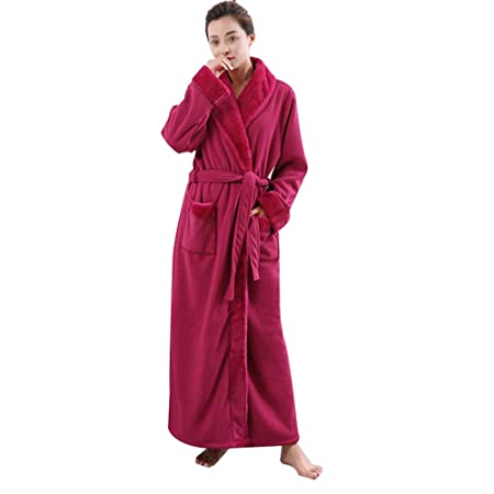 HONGNA Winter Nightgown Flannel Men And Women Couple Models Thickening Robe  Fleece Pajamas Hotel Bathrobe (color   PINK bbc0ed04b609