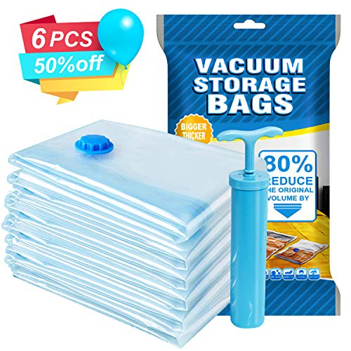Agedate Premium Vacuum Storage Bags, 6 Pack (3xLarge, 3xJumbo) Space Saver Storage Bags for Travel, Durable and Reusable, Save 80% More Storage Space, Free Hand Pump Included