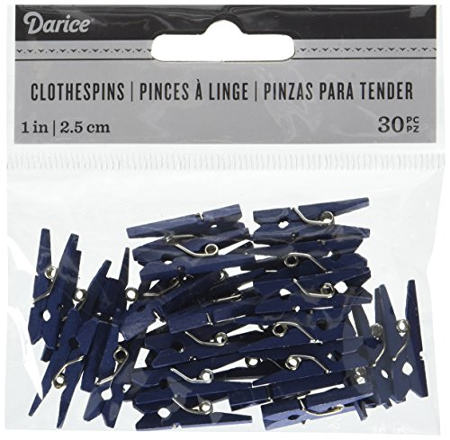 Mini Navy Clothespins, 1 inch, One Pack of 30 pieces ()
