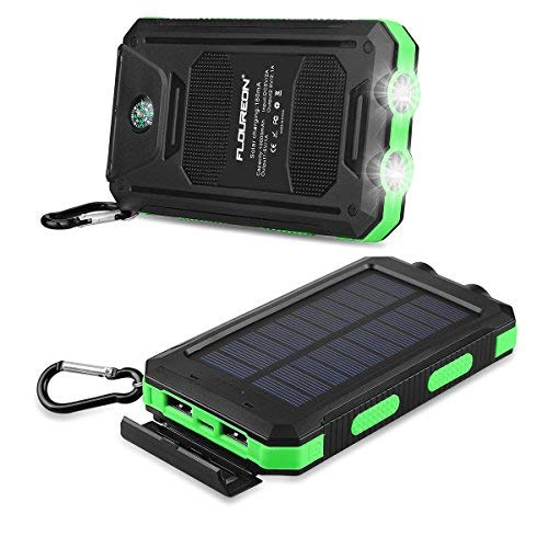 FLOUREON 10,000mAh Solar Charger Power Bank Waterproof Portable Phone Solar Charger with Dual USB 1.0A/2.0A Max External Battery for iPhone, iPad, Samsung Galaxy, Android and More (Green)