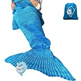 LAGHCAT Mermaid Tail Blanket Crochet Mermaid Blanket for Adult, Soft All Seasons Sleeping Blankets, Classic Pattern (71'x35.5', Blue)