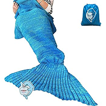 "LAGHCAT Mermaid Tail Blanket Crochet Mermaid Blanket for Adult, Soft All Seasons Sleeping Blankets, Classic Pattern (71""x35.5"", Blue)"
