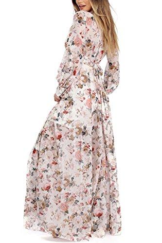 Damen Floral Chiffon Tiefe V Hals Lange Maxi Partei Kleid White ...