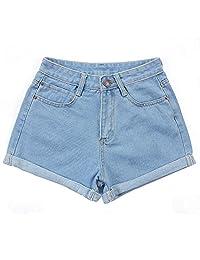 HuaYang Retro High Waist Women Girls Sexy Short Jeans Denim Shorts Pants for Spring Summer Color:Light Blue Size:26