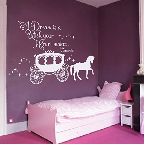 A Dream is a Wish Your Heart Makes Wall Decal with Princess Carriage for Girls Nursery Baby Gift Kids Decal White, 22 h x34 w Saniwa Wall Decal Decor Cinderella Quote