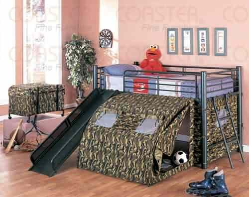Coaster Home Furnishings  Kids Camo Tent Twin Loft Bunk Bed with Slide - Camouflauge (Youth Beds For Boys)