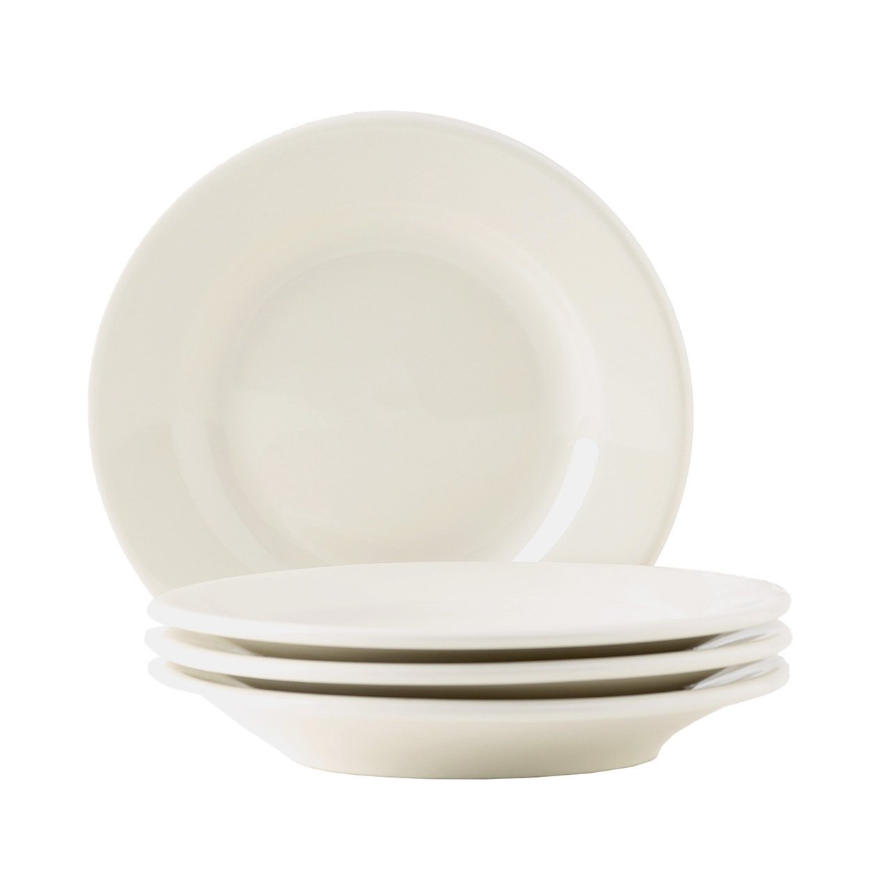 Tuxton Home Reno American Wide Rim Salad Plate (Set of 4), 7 1/8'', Eggshell White; Heavy Duty; Chip Resistant; Lead and Cadmium Free; Freezer to Oven Safe up to 500F