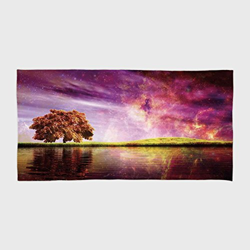 iPrint Cotton Microfiber Hotel SPA Beach Pool Bath Hand Towel,Magical,Supernatural Sky Scenery with Mystical Northern Solar Theme and Star Clusters Photo,Purple,for Kids, Teens, and Adults by iPrint