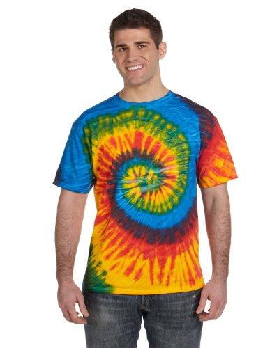 - Tie Dye Colortone Adult Multi Color Tee, Rasta Blue Spiral, X-Large