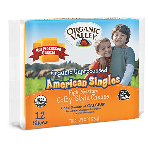 Organic Valley Unprocessed American Singles Colby-Style Cheese, 8 Ounce (Pack of 12)