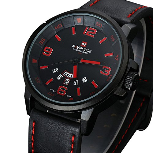 2a21bbf95cf Buy relogio masculino Luxury NAVIFORCE Brand Genuine Leather Analog Display  Date Men s Quartz Watch Sports Watches Men Wristwatch Online at Low Prices  in ...