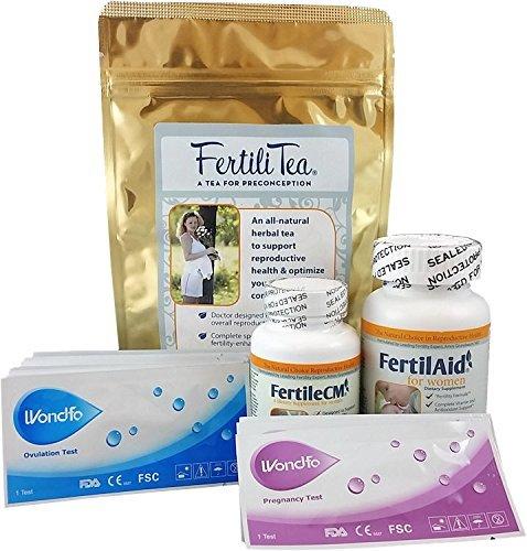 Fertility Supplement Bundle for Women - 1 Month Supply of Fertilaid, FertileCM, Fertilitea, Wondfo Ovulation Tests and Pregnancy Tests Fairhaven Health