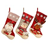 ERANLEE Christmas Stocking, Set of 3 Santa, Snowman, Reindeer, Xmas Character 3D Plush with Faux Fur Cuff Christmas Decorations and Party Accessory (Style 1)