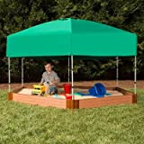 Frame It All Two Inch Series Composite Hexagon Sandbox Kit with Canopy/Cover, 7' x 8' x 5.5''