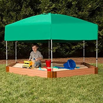 """Frame It All Two Inch Series Composite Hexagon Sandbox Kit with Canopy/Cover, 7' x 8' x 5.5"""""""