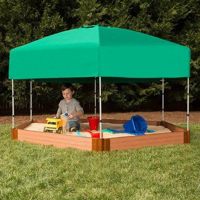 Frame It All Two Inch Series Composite Hexagon Sandbox Kit with Canopy/Cover, 7' x 8' x 5.5