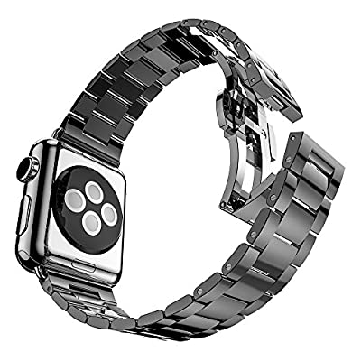 NO1seller Top Extreme Thin & Light Stainless Steel Apple Watch Band Strap Wrist Band Replacement with Butterfly Clasp for Apple Watch Series 1, Series 2