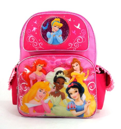 Disney Princess – Princess Wishes – Large 16″ Backpack – Featuring Tiana, Bell, Ariel, Cinderella Aurora, and Snow White, Bags Central